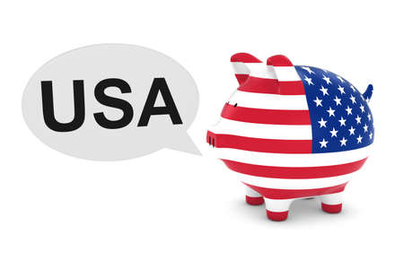 us coin: US Flag Piggy Bank with USA Text Speech Bubble 3D Illustration
