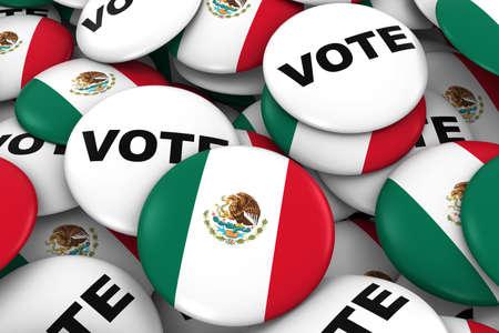 bandera mexicana: Elecciones México Concepto - Ilustración de la bandera mexicana y Placas Voto 3D Foto de archivo