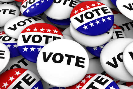 polling: Vote Badges Background - Pile of Red White and Blue Political Campaign Buttons 3D Illustration