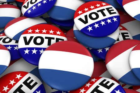 voters: Netherlands Elections Concept - Dutch Flag and Vote Badges 3D Illustration Stock Photo