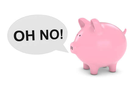 financial advice: Piggy Bank with Oh No! Text Speech Bubble 3D Illustration