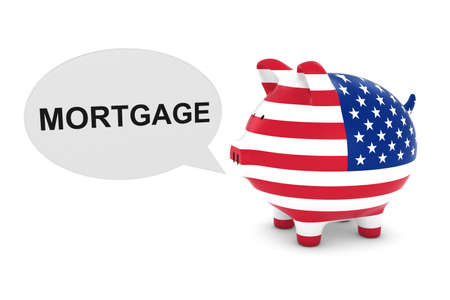us coin: US Flag Piggy Bank with Mortgage Text Speech Bubble 3D Illustration