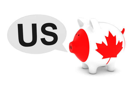 Canada Flag Piggy Bank with US Text Speech Bubble 3D Illustration Stock Photo