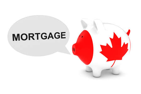 canadian coin: Canada Flag Piggy Bank with Mortgage Text Speech Bubble 3D Illustration