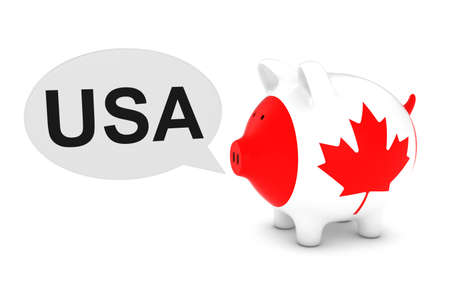 Canada Flag Piggy Bank with USA Text Speech Bubble 3D Illustration