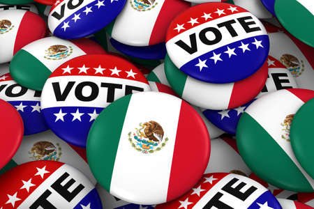 mexican flag: Mexico Elections Concept - Mexican Flag and Vote Badges 3D Illustration