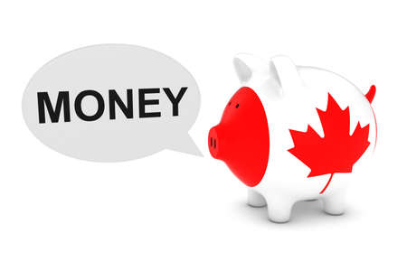 canadian coin: Canada Flag Piggy Bank with Money Text Speech Bubble 3D Illustration
