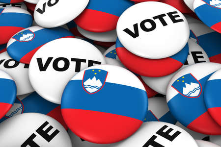 voters: Slovenia Elections Concept - Slovenian Flag and Vote Badges 3D Illustration Stock Photo