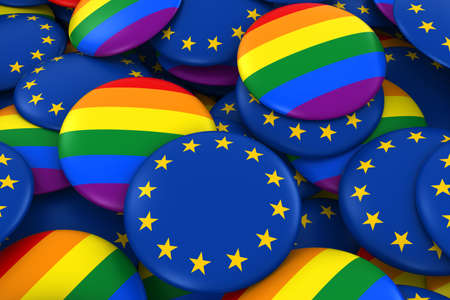 European Gay Rights Concept - EU Flag and Gay Pride Badges 3D Illustration Stock Photo