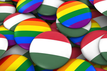 hungarian: Hungary Gay Rights Concept - Hungarian Flag and Gay Pride Badges 3D Illustration