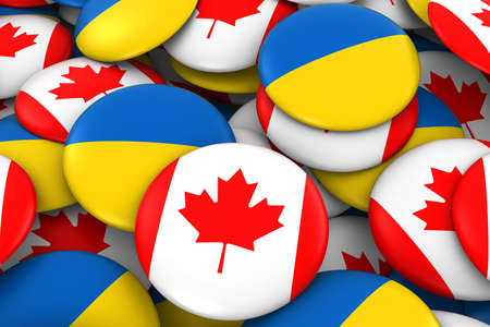 ukrainian flag: Canada and Ukraine Badges Background - Pile of Canadian and Ukrainian Flag Buttons 3D Illustration