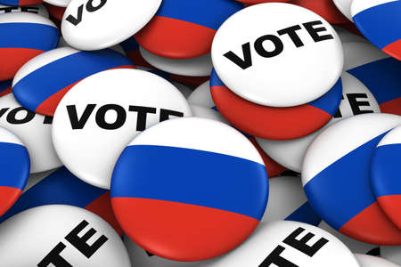 russian flag: Russia Elections Concept - Russian Flag and Vote Badges 3D Illustration Stock Photo