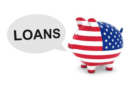 US Flag Piggy Bank with Loans Text Speech Bubble 3D Illustration Stock Photo