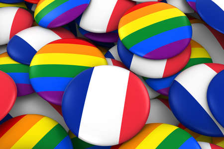 french flag: France Gay Rights Concept - French Flag and Gay Pride Badges 3D Illustration