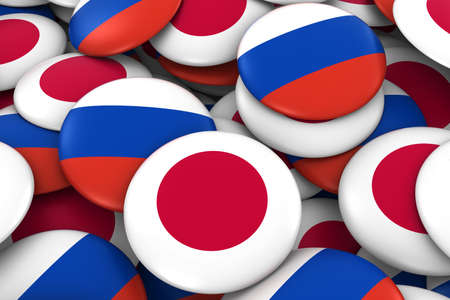 russian flag: Japan and Russia Badges Background - Pile of Japanese and Russian Flag Buttons 3D Illustration Stock Photo