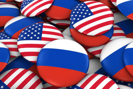 russian flag: United States and Russia Badges Background - Pile of US and Russian Flag Buttons 3D Illustration