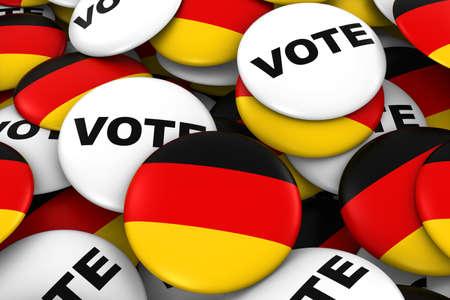 german flag: Germany Elections Concept - German Flag and Vote Badges 3D Illustration