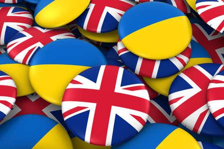 ukrainian flag: United Kingdom and Ukraine Badges Background - Pile of British and Ukrainian Flag Buttons 3D Illustration Stock Photo