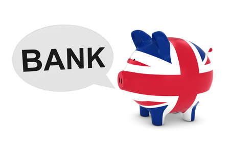 uk flag: UK Flag Piggy Bank with Bank Text Speech Bubble 3D Illustration