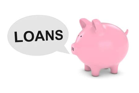 loans: Piggy Bank with Loans Text Speech Bubble 3D Illustration