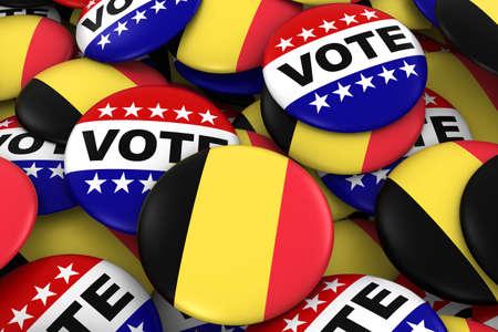 voters: Belgium Elections Concept - Belgian Flag and Vote Badges 3D Illustration Stock Photo