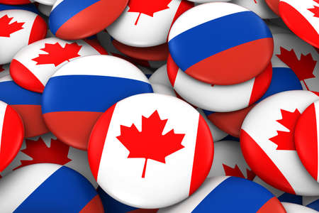 russian flag: Canada and Russia Badges Background - Pile of Canadian and Russian Flag Buttons 3D Illustration