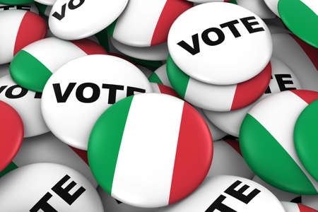 voters: Italy Elections Concept - Italian Flag and Vote Badges 3D Illustration