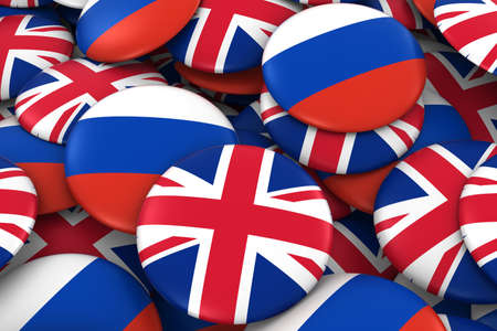 russian flag: United Kingdom and Russia Badges Background - Pile of British and Russian Flag Buttons 3D Illustration