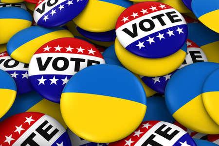 ukrainian flag: Ukraine Elections Concept - Ukrainian Flag and Vote Badges 3D Illustration