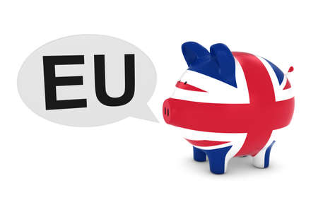 uk flag: UK Flag Piggy Bank with EU Text Speech Bubble 3D Illustration Foto de archivo