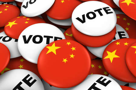 voters: China Elections Concept - Chinese Flag and Vote Badges 3D Illustration