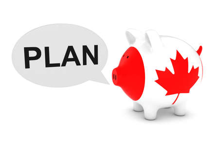 savings: Canada Flag Piggy Bank with Plan Text Speech Bubble 3D Illustration