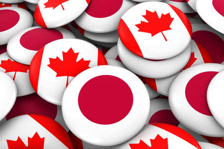 canadian flag: Japan and Canada Badges Background - Pile of Japanese and Canadian Flag Buttons 3D Illustration Stock Photo