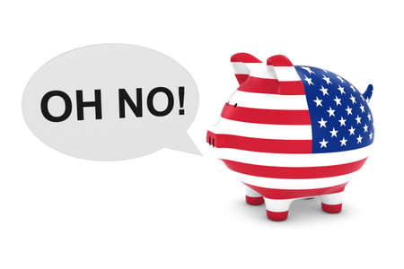 US Flag Piggy Bank with Oh No! Text Speech Bubble 3D Illustration