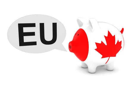 canadian coin: Canada Flag Piggy Bank with EU Text Speech Bubble 3D Illustration
