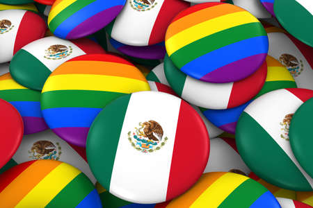 mexican flag: Mexico Gay Rights Concept - Mexican Flag and Gay Pride Badges 3D Illustration
