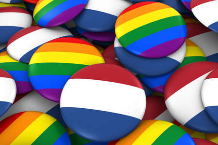 dutch flag: Netherlands Gay Rights Concept - Dutch Flag and Gay Pride Badges 3D Illustration Stock Photo