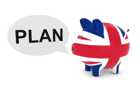 UK Flag Piggy Bank with Plan Text Speech Bubble 3D Illustration Stock Photo