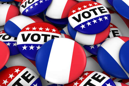 french flag: France Elections Concept - French Flag and Vote Badges 3D Illustration