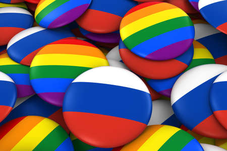 russian flag: Russia Gay Rights Concept - Russian Flag and Gay Pride Badges 3D Illustration Stock Photo
