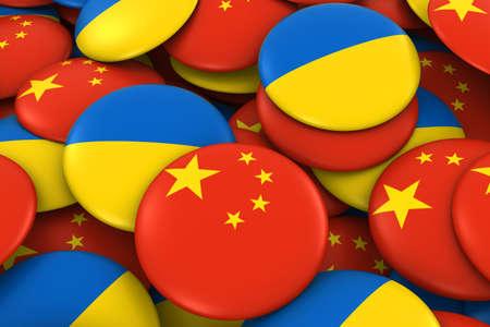 ukrainian flag: China and Ukraine Badges Background - Pile of Chinese and Ukrainian Flag Buttons 3D Illustration Stock Photo