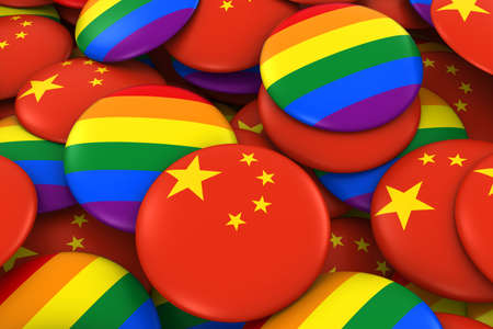 gay pride: China Gay Rights Concept - Chinese Flag and Gay Pride Badges 3D Illustration Stock Photo
