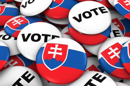 voters: Slovakia Elections Concept - Slovakian Flag and Vote Badges 3D Illustration Stock Photo