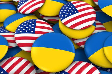 ukrainian flag: United States and Ukraine Badges Background - Pile of US and Ukrainian Flag Buttons 3D Illustration