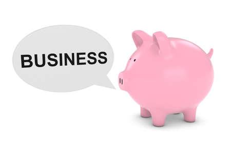 financial advice: Piggy Bank with Business Text Speech Bubble 3D Illustration