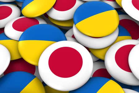 ukrainian flag: Japan and Ukraine Badges Background - Pile of Japanese and Ukrainian Flag Buttons 3D Illustration