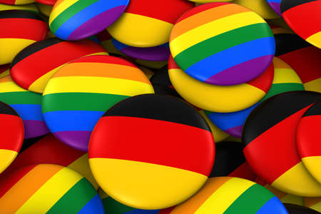 Germany Gay Rights Concept - German Flag and Gay Pride Badges 3D Illustration