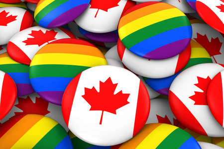 canadian flag: Canada Gay Rights Concept - Canadian Flag and Gay Pride Badges 3D Illustration