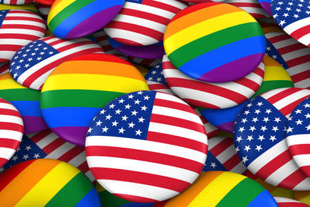 gay pride: United States Gay Rights Concept - US Flag and Gay Pride Badges 3D Illustration Stock Photo