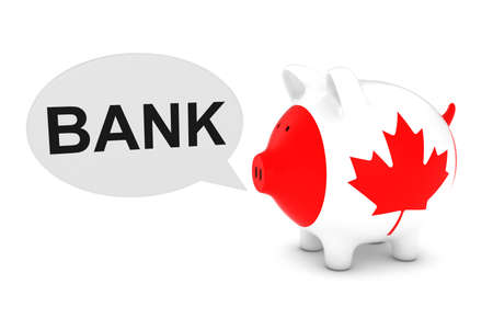 canadian coin: Canada Flag Piggy Bank with Bank Text Speech Bubble 3D Illustration
